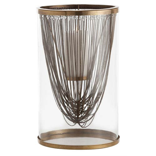 Arteriors Home Worth Antique Brass 17-Inch Hurricane Candle