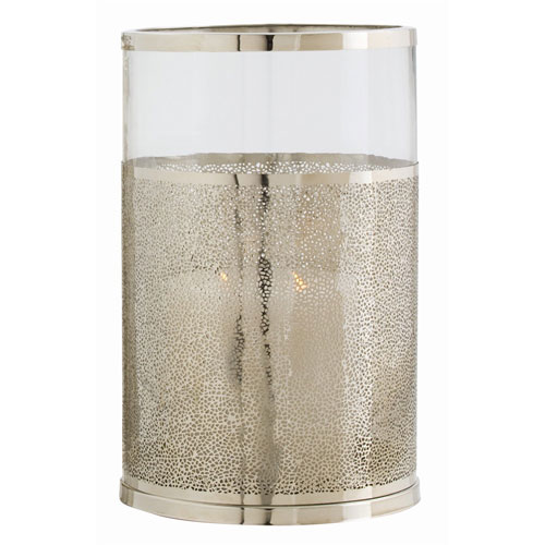 Arteriors Home Bombay Polished Nickel Small Hurricane Candle