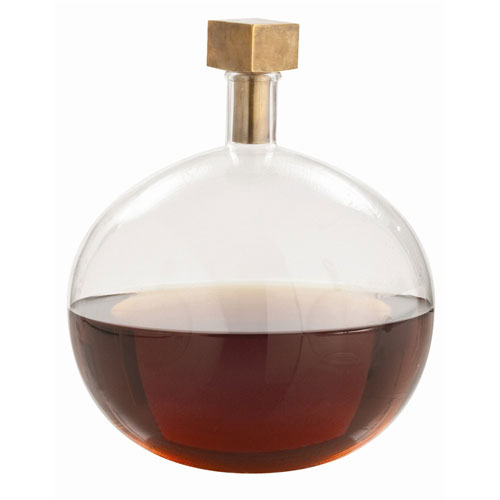 Arteriors Home Edgar Clear 10.5-Inch Round Glass Bottle with Cube Stopper Decanter