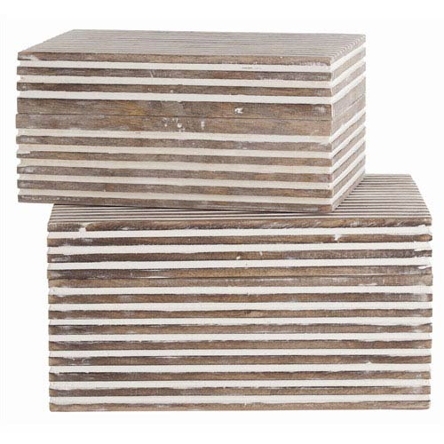 Arteriors Home Trinity Small Wooden Boxes, Set of Two