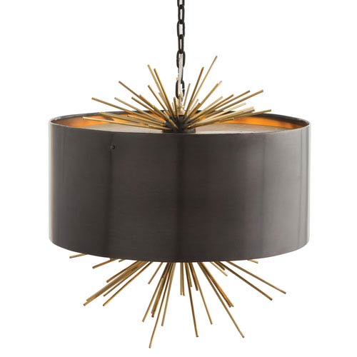 Patton English Bronze and Brass Three-Light Pendant