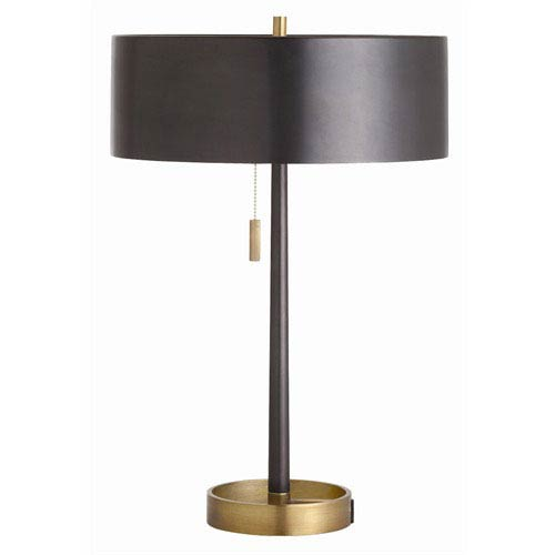 Arteriors Home Violetta Vintage Brass and Black Iron Lamp