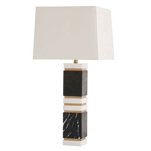 Dustin White One-Light Table Lamp with Ivory Shade