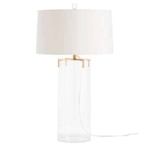 Arteriors Home Dale Antique Brass One-Light Table Lamp with Ivory Shade