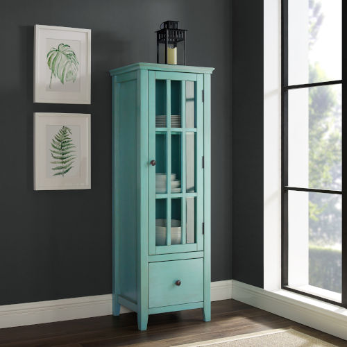 Arya Antique Turquoise Glass Door Cabinet