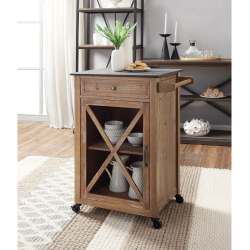 Matthew Rustic Brown Kitchen Cart