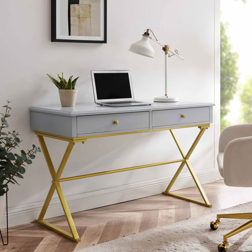 Campaign Gray and Gold Two Drawer Desk