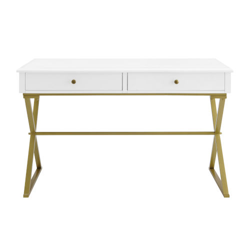 Shea White and Gold Two-Drawer Campaign Desk