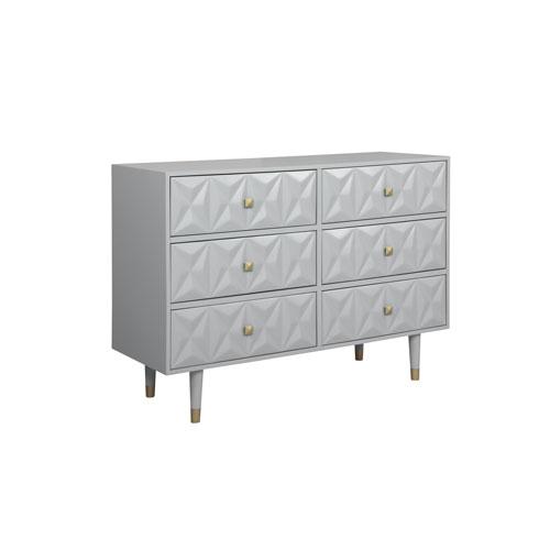 Geo Gray Six-Drawer Dresser