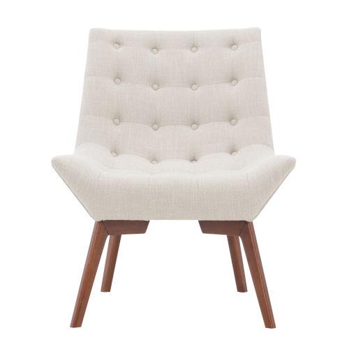 Serena Dark Walnut Tufted Linen Chair