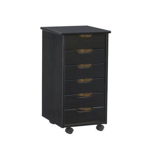 Hudson Black Six-Drawer Rolling Storage Cart