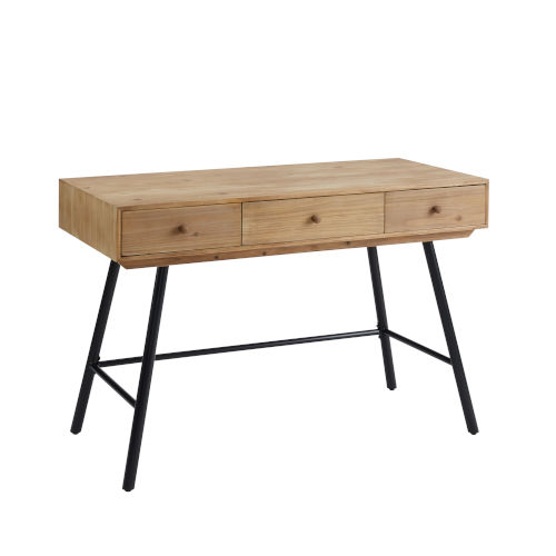 Cailan Natural Black Three-Drawer Desk