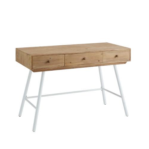 Cailan Natural White Three-Drawer Desk