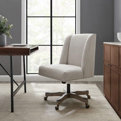 James Dark Gray Wash Upholstered Swivel Office Chair