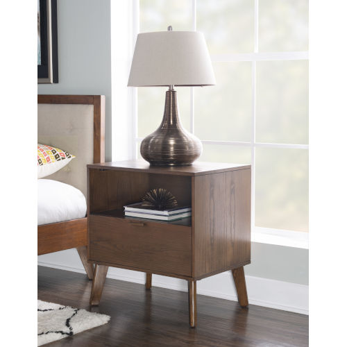 Noah Walnut One Drawer Nightstand