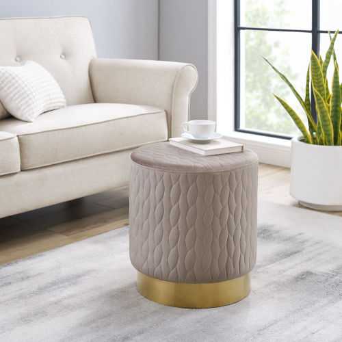 Asher Gold Beige Round Upholstered Ottoman