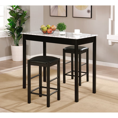 Lancer Black Marble Tavern Set, 3 Piece