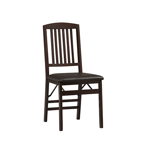 Triena Espresso Mission Back Folding Chairs - Set of Two