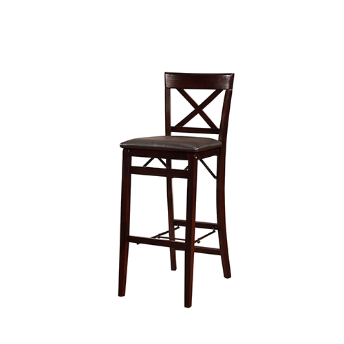 Triena Espresso Back Folding Bar Stool