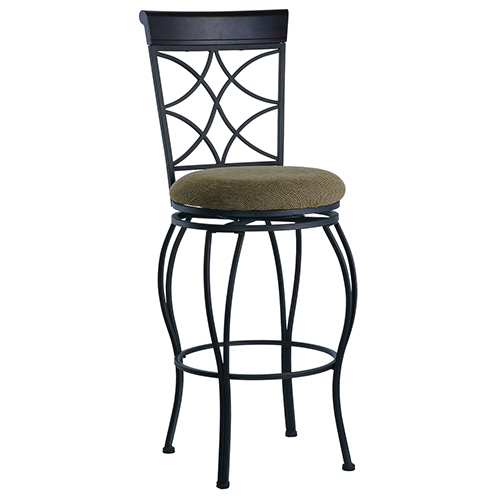 Brighton Hill Curves Metallic Brown and Brown Wood 24-Inch Bar Stool