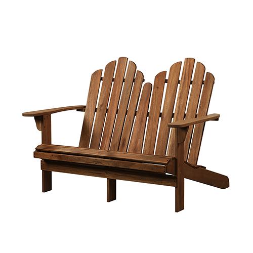 Teak Outdoor Adirondack Double Bench