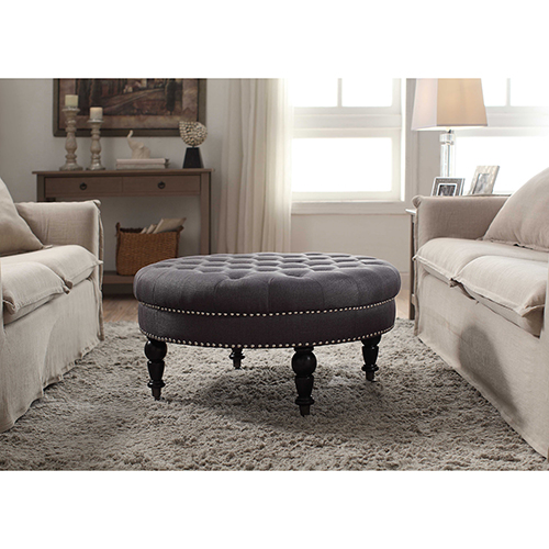 Brighton Hill Isabelle Charcoal Round Tufted Ottoman
