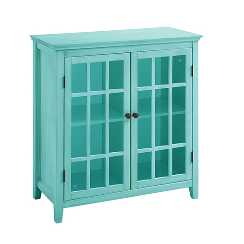Largo Antique Turquoise Double Door Cabinet