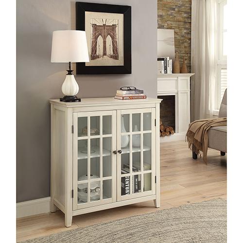 Largo Antique White Double Door Cabinet