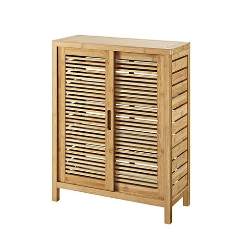 Bracken Natural Bamboo Bathroom Two Door Floor Cabinet
