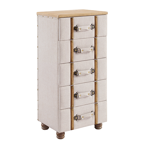 Sarah Natural and Brown Five Drawer Padded Chest Cabinet