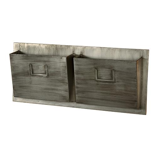 Grey Industrial Metal Horizontal Two Slot Mailbox