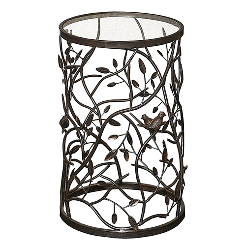 Brighton Hill Bird and Branch Rustic Brown and Gold Accent Table