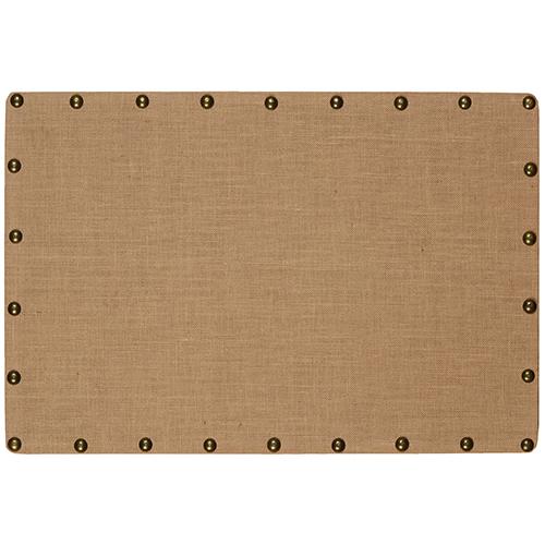 Burlap Brown and Bronze Medium Nailhead Corkboard