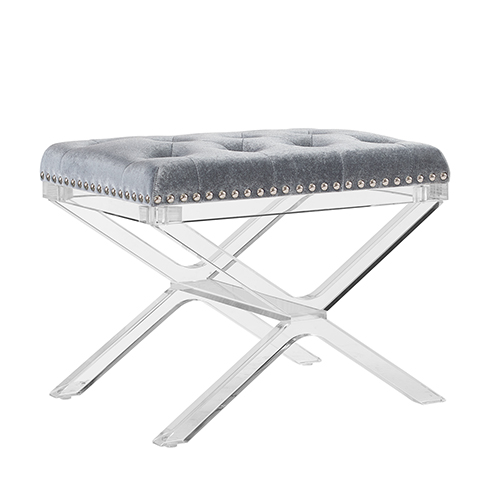 Kelsi Silver Vanity Bench with Acrylic Legs