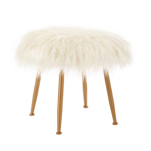 Arlo Cream Fur Stool