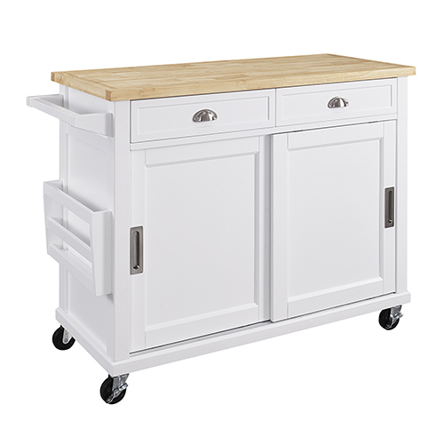 Sherman White Kitchen Cart