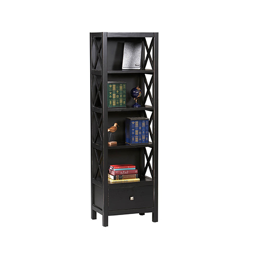 Anna Antique Black Five Shelf Narrow Bookcase