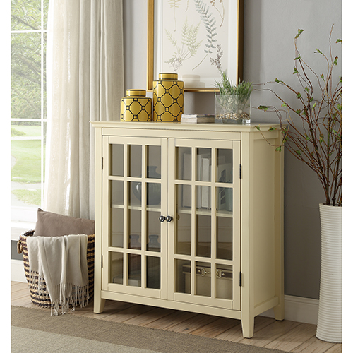 Brighton Hill Leslie Pale Yellow Double Door Cabinet