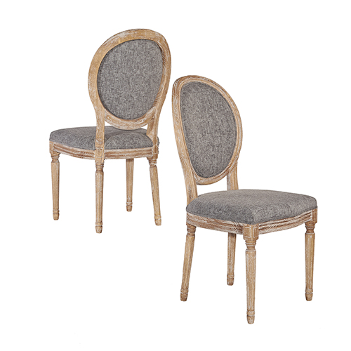 Manchester Charcoal Oval Back Chairs - Set of Two