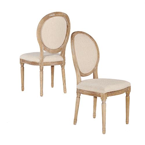 Manchester Light Natural Brown Linen Oval Back Chair
