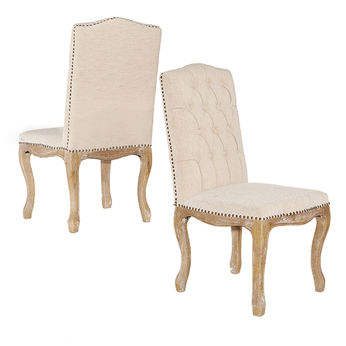 Portsmouth Light Natural Brown Linen Square Back Chairs - Set of Two