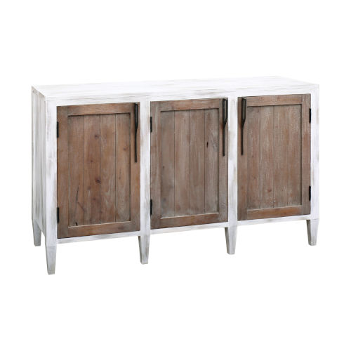Wilder Front Porch White and Weathered Tuscan 56-Inch Three-Door Credenza