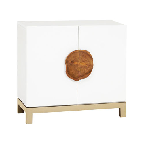 Slice Grain de Bois Blanc and Champagne Gold 36-Inch Two-Door Cabinet