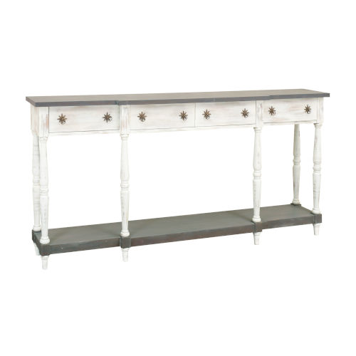 Simpson Sand-worn Shutter and Antique Smoke 72.5-Inch Four-Drawer Console Table