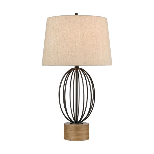 Black Stained Pine One-Light Table Lamp