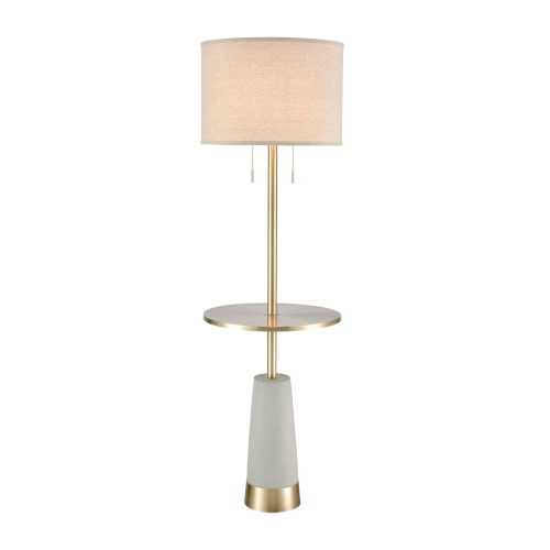 Below the Surface Gray Antique Brass Silver Two-Light Floor Lamp