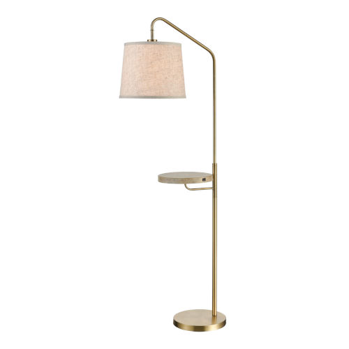 Regina Antique Brass and Coastal Bleached Wood 22-Inch Floor Lamp