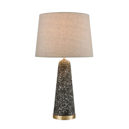 Port 17 Gray Terazzo and Antique Brass 13.5-Inch Table Lamp