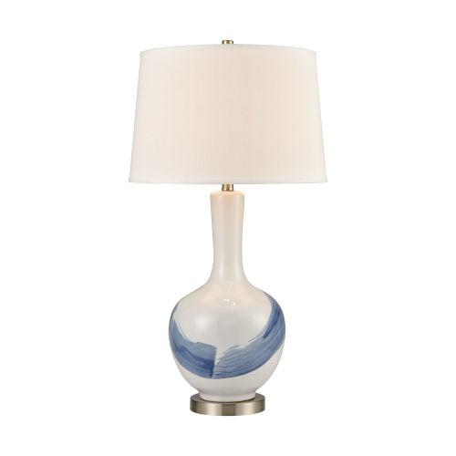 Kircubbin White Blue Satin Nickel One-Light Table Lamp