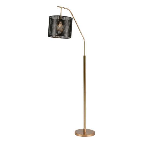 Decker Gold Aged Brass Black One-Light Floor Lamp